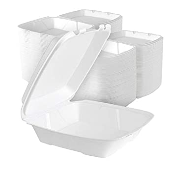Stock Your Home 9 Inch Clamshell Styrofoam Containers  25 Count  - 1 Compartment Food Containers - Large Carry Out Food Containers - Insulated Clamshell Take Containers for Delivery Restaurants