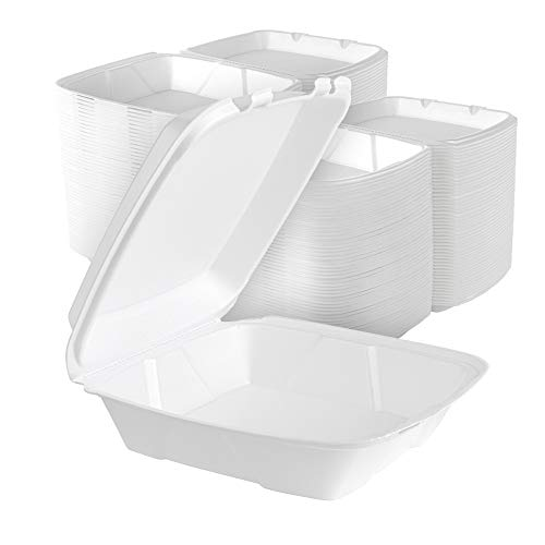 Stock Your Home 9 Inch Clamshell Styrofoam Containers (25 Count) - 1 Compartment Food Containers - Large Carry Out Food Containers - Insulated Clamshell Take Containers For Delivery, Restaurants