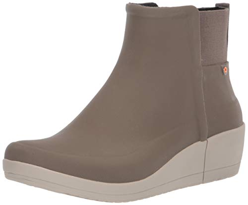 BOGS womens Vista Wedge Waterproof Ankle Height Rain Boot, Taupe, 10 US