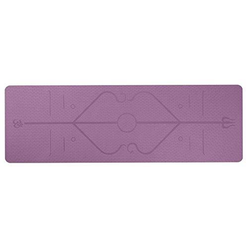 A.G.S. AGS - Tappetino da yoga in gomma naturale, 5 mm, antiscivolo, con linea di posizione, tappetino da palestra, fitness, tappetino da yoga