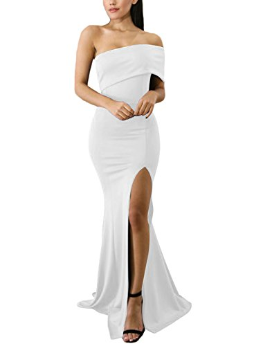 ZKESS Women's Chic Off The Shoulder One Sleeve Slit Maxi Party Prom Dress White Large