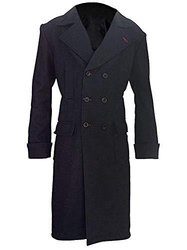 EU Fashions Benedict Cumberbatch Sherlock Holmes Herren Trenchcoat aus Wolle, Schwarz Gr. XXX-Large, Schwarz – Wollmantel.