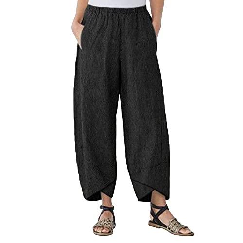Xiakolaka Linen Capris Pants for Women with Pocket Retro Cropped Haren Pants Black