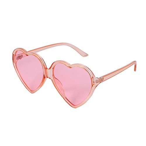 Bayda 90S Vintage Gafas de moda grandes mujeres señoras niñas gran tamaño en forma de corazón retro gafas de sol lindo amor gafas (rosa)