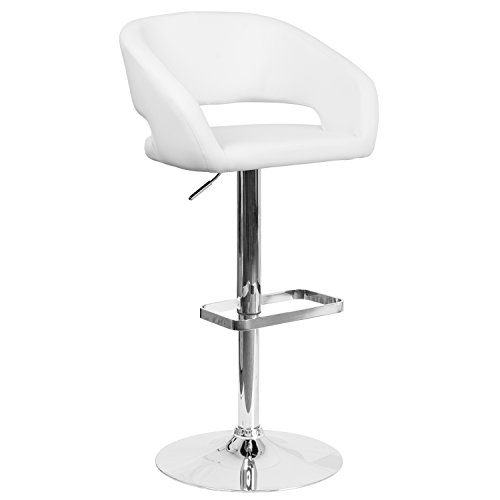 Flash Furniture Contemporary White Vinyl Adjustable Height Barstool with Rounded Mid-Back and Chrome Base