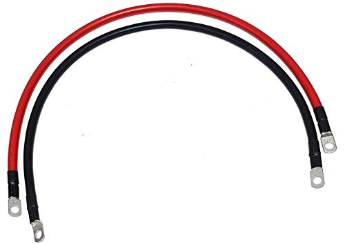 """A-Team Performance 2 Ft positive and negative cables, Set with 5/16"""" Lugs M8 24 Inch Long, 600 volts 500 V/mi, 1500 psi 4AWG Battery Cables Red & Black"""