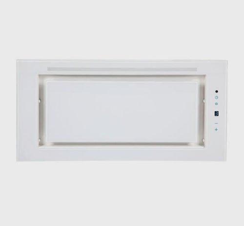 """Dunstabzugshaube-Lüfterbaustein/Deckenhaube F.BAYER Leo 60GW, EEK A Weiß Glas LED, Sensorsteurung, Intensivstufe, \""""Touch Control\"""" , Fernbedienung , vier Leistungsstufen (3 Stufen + Turbo)."""