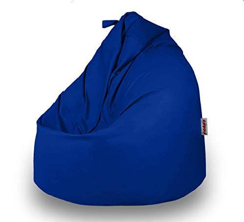 Italpouf Pouf Sacco Ecopelle Grande 90 Ø x 115 cm, Poltrona Sacco Grande Pera, Pouf Sacco Imbottito, Pouf Ecopelle Sfoderabile (Pouf Sacco XL Grande, Blu)