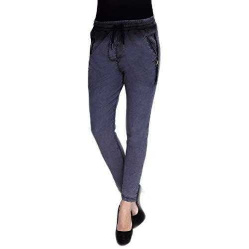 Zhrill Damen Joggpant Stoffhose Anzugshose Tapered Cropped Slim Fit Fabia, Größe:S, Farbe:N4146 - Blue