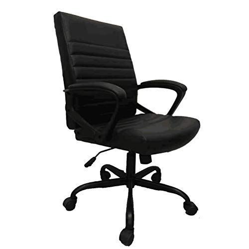 Furmax PU Leather Mid Back Ribbed Office Desk Chair Swivel Ergonomic Chair with Padded Arms