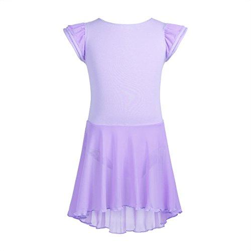 VernLan - Maillot de gimnasia con volantes y mangas con falda de malla irregular, para niñas, Lavanda