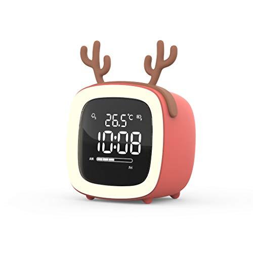 Kinder Wecker Schlafzimmer Studenten Mit Multifunktions-Creative Mute Kleine Uhr Smart Electronic Bed Einfache Aufladung (Color : Blue)