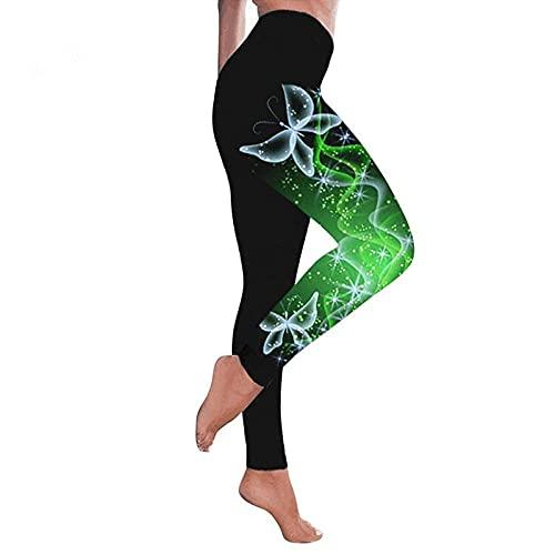 ArcherWlh Leggings Push Up Mujer,Modelos de explosión Femenina Impresa Mariposa Colorida Leggings de Cintura Altas Pantalones de Yoga Tamaño Grande-Verde_L