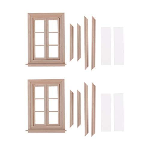 2 Juegos De Muebles De Casa De Muñecas De Madera Sin Pintar 1 Modelo De Ventana De Doble Puerta A Escala 12 (con Piezas De Marco), Decoración De Brico