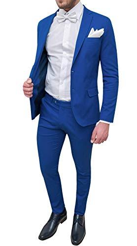 Trade Sartoriale Abito Completo Uomo Elegante Made in Italy con Papillon e Pochette (52, Blu Chiaro)