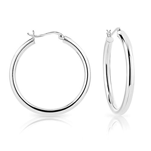 DTPSilver - 925 Sterling Silver Creole Hoops Earrings - Thickness 4 mm - Diameter 40 mm