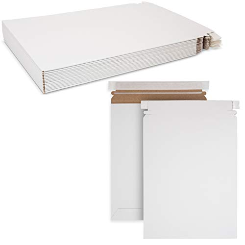 """Stay Flat White Mailers - Envelopes with Self-Seal Tape Keep Delicate Items or Papers Safe Size 9 3/4"""" x 12 1/4"""" By MT Products (15 Pieces)"""