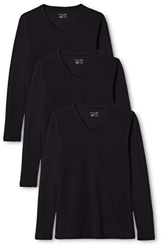 Berydale Damen Langarm-Shirt mit V-Ausschnitt aus 100 % Baumwolle, 3er Pack, Schwarz, L