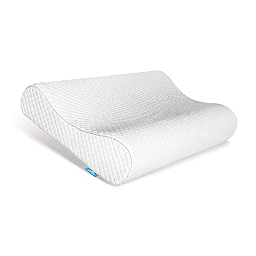 AM AEROMAX Contour Memory Foam Pillow, Neck Orthopedic Sleeping Pillows, Cervical Pillow for Neck Pain Relief with Washable Pillowcase for Side, Back and Stomach Sleepers.(Soft & White)