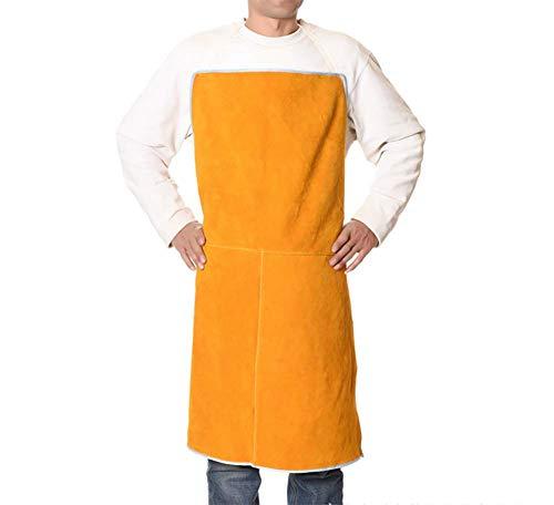 KEKE verstelbare lederen lasser apron, anti-vlam rundleer lange jas beschermende kleding, 70 cm x 90 cm