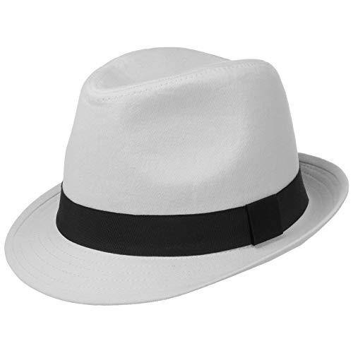 Lipodo Trilby Damen/Herren - Hut aus 100% Baumwolle - Stoffhut 56 cm - Sonnenhut Weiß - Fedora mit Ripsband