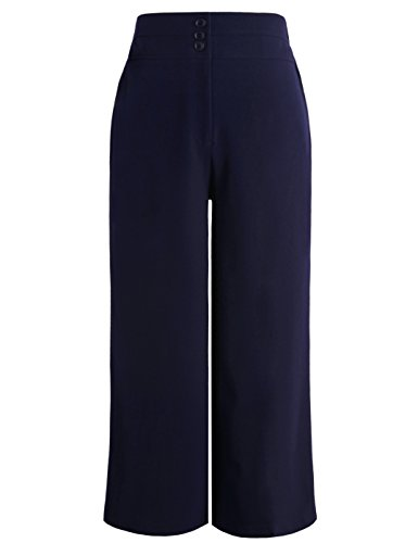 Chicwe Women's Plus Size Cropped Curvy Fit Wide Leg Pants with Wide Waistband - Casual and Work Pants Trousers Navy 16