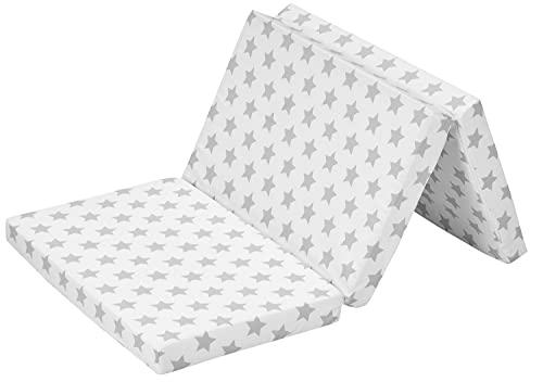 Alvi Reisebettmatratze klappbar 60x120 Design Stern grau   Babymatratze faltbar   Matratze für Reisebett Babybett Kinderbett   hochwertiger Schaum mit waschbarem Bezug in praktischer Tragetasche