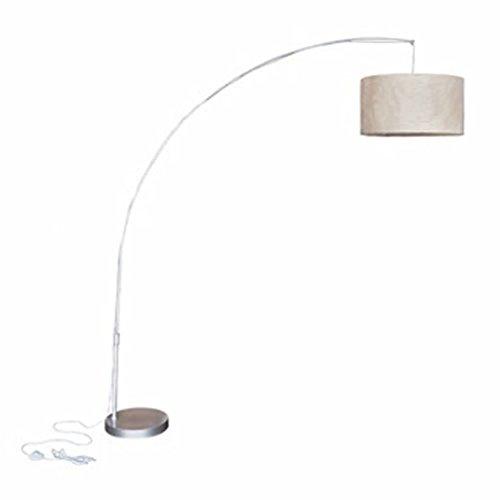 mewmewcat Design Bogenlampe Bogenleuchte Stehlampe Standleuchte mit Papierschirm 192 cm Höhe Durchmesser ca. 50 cm Beige
