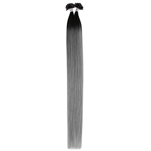 Beauty7 Extension de Cheveux Nail Tips Humain Naturel Ombre Gris Utips Pose a Chaud Garde 6A Poids 50g Raides/Droits/Lisse Remy Hair - 0.5g/meche - 20