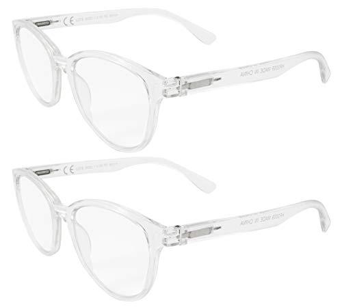 LIANDU 2er Pack Fashion Damen Lesebrille Spring Scharniere Lesebrille Bunte Leser für Frauen Modell HR3009 (Transparent)+2.0