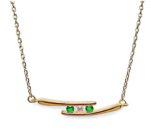 Ah! Jewellery Gift Boxed Gold Filled 3 Stone Emerald & Clear Crystal Necklace, Stamped GL.