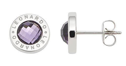 Jewels by Leonardo Damen-Ohrstecker Silber mit lila Glasstein I Ohrring klein aus Edelstahl mit Gravur