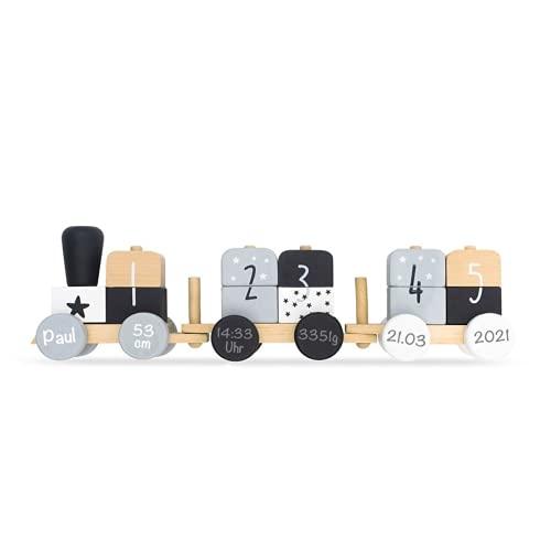 Babygeschenk zur Geburt - Personalisierte Holzeisenbahn Holzzug mit Steckformen schwarz/weiß/grau | Jollein | Personalisiert mit Geburtsdaten und Namen