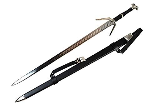 Swords and more Witcher - Silber Schwert - Geralt von Riva Silberschwert mit Scheide, Exklusive Requisite des Weißen Wolfs in voller Größe, Zubehör für Rollenspielkostüm für Fans und Sammler