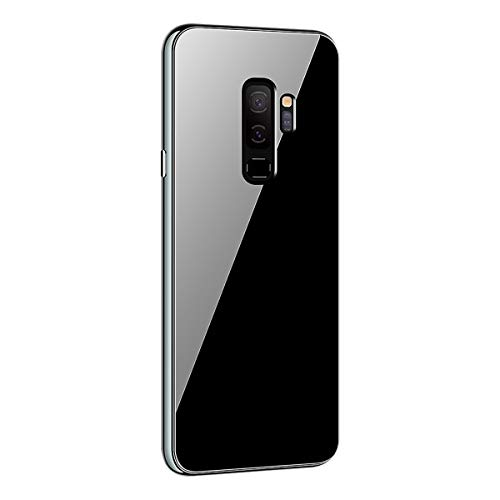Samsung Galaxy S9 Magnetic Phone Case with Metal Frame Glass Back Case Aluminum Alloy Tempered Glass with Built-in Magnet Flip Cover for Galaxy S9 /S9 Plus (Black, Samsung Galaxy S9 Plus)