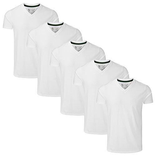 Charles Wilson 5er Packung Einfarbige T-Shirts mit V-Ausschnitt (Medium, Plain White)