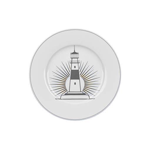 Krasilnikoff - Teller, Kuchenteller - Leuchtturm - Porzellan - Ø20 cm