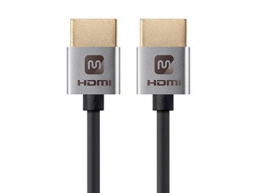 Monoprice Cabo HDMI de alta velocidade - prata de 6 polegadas, 4K a 60Hz, HDR, 18Gbps, 36AWG, YUV 4:4:4 - Série Ultra Slim