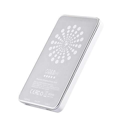 LIZONGFQ Banco de Potencia inalámbrico de Carga rápida Tridimensional 15W5000MAH Banco de Potencia inalámbrico magnético Banco portátil al Aire Libre,1