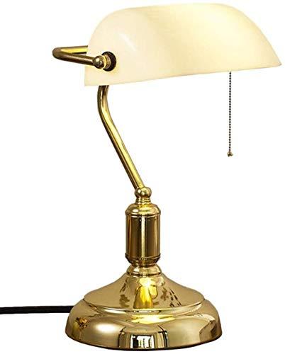 Lámpara de mesa de banqueros Lámpara de escritorio tradicional con interruptor de cadena de tracción Lámpara de mesa antigua para dormitorio Lectura Oficina Sala de estar Metal Satinado
