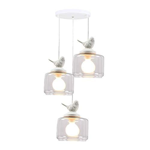boaber Lámpara de techo de cristal, E27, creativa, lámpara de techo con forma de pájaro de resina blanca, lámpara de techo para restaurante, dormitorio, cocina o tres A