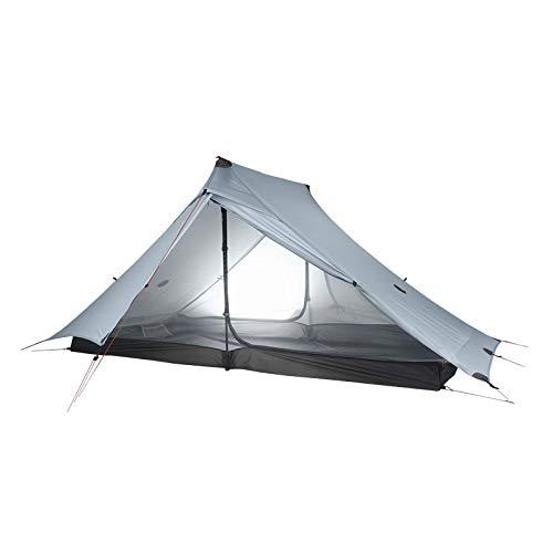 KGLOPYE tent 3F UL GEAR Blue Mountain 2 tent outdoor 2 people ultralight camping tent 3 season professional 20D poleless tent,20D Gray