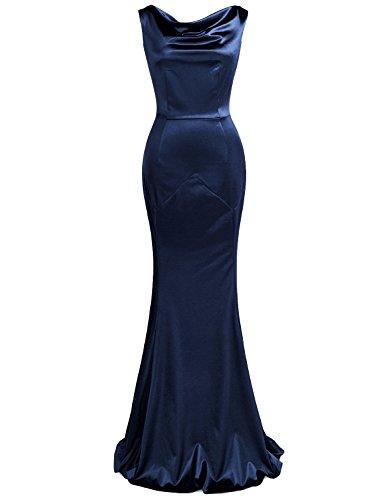 MUXXN Women's 1950s Retro Cowl Neck Bandage Prom Dress (Blue L)