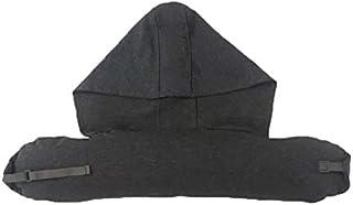 YYBF Almohada de Cuello de Almohada en Forma de U con Gorra para Cubrir la Almohada de Descanso de Almuerzo de Viaje del avión Partículas de látex Gris Oscuro