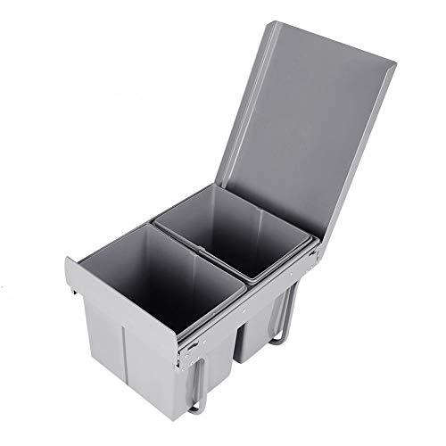 Cubo de basura extraíble con cierre suave lento, corredizo, 2 cubos de 15 L, 48 x 26 x 35 cm, gris