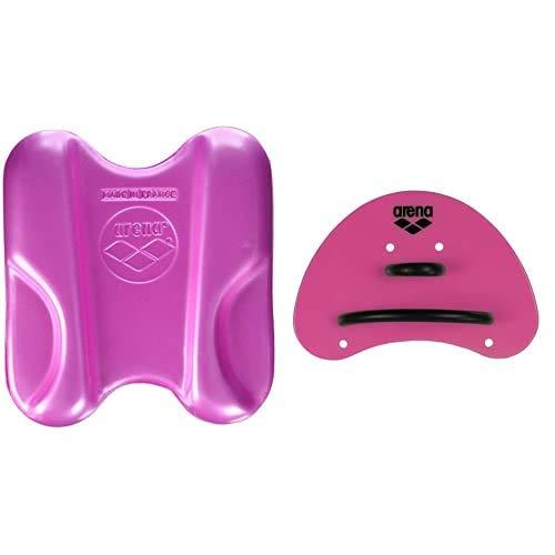 ARENA Unisex Pullbuoy/Schwimmbrett Pull Kick zur Verbesserung der Wasserlage und Körperhaltung, Pink (90), One Size & Unisex Schwimm Wettkampf Trainingshilfe Finger Paddle Elite, Pink-Black (95), S