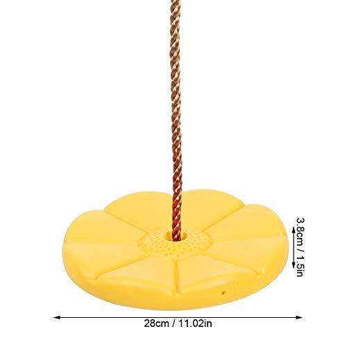 Alomejor Kinderscheibe Schaukel Outdoor Indoor Schaukel Plastikscheibe Kletterschaukelfür Gartenspielplatz Camping Spielzeug(Gelb)