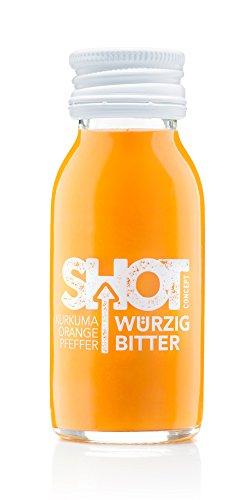 Shot Concept Kurkuma Shot, Würzig Bitter, 6x60ml Glasflasche, mit 25% Kurkuma Dirketsaft,...