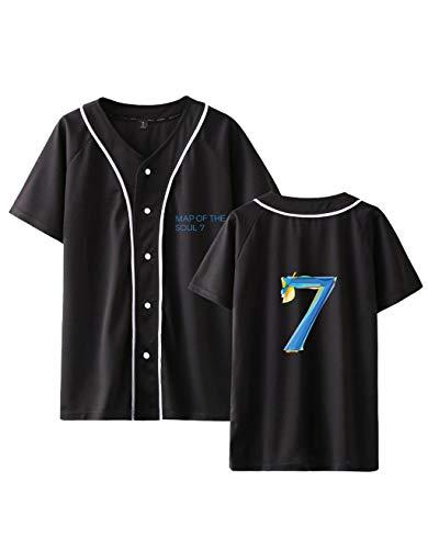 BTS T-Shirts Damen, Teenager Mädchen Kpop BTS Map of The Soul 7 Tshirts Frauen Sommer 3D Druck Baseball Kurzarm T-Shirts Armee Suga Jimin Jin Jung Jook J-Hope Rap V Sport Oberteile Tops (D-Schwarz,M)