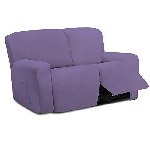 Easy-Going 6 Pieces Microfiber Stretch Sectional Recliner Sofa Slipcover Soft Fitted Fleece 2 Seats Couch Cover Washable Furniture Protector with Elasticity for Kids Pet(Recliner Loveseat, Purple)